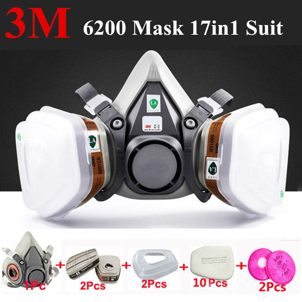 3M 6200 Anti-gas Dust Mask 17 In 1 Suit Half Face Painting Spraying Respirator Gas Mask Safety Work Filter Dust Mask 3m 7502 18 in 1 suit spraying painting respirator gas mask half face anti dust mask with 1621 safety protection goggles