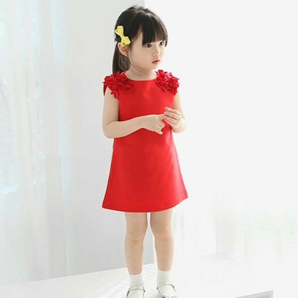 Однотонное платье с цветочным рисунком для маленьких девочек повседневное праздничное платье принцессы сарафан детское платье для нового года, одежда для маленьких девочек