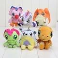 6 unids/set Aventura Digimon Gabumon Agumon Gomamon Biyomon Palmon Patamon Digimon Plush Doll