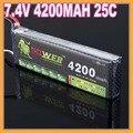 1 Unids Lion Poder Lipo batería 7.4 V 4200 MAH 25C 2 S 35C Max charing rápido RC lipo