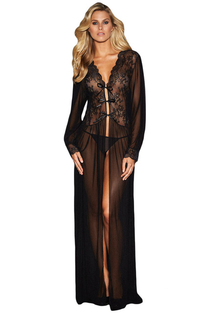 2018 New Summer Women s Sexy Black Sheer Long Sleeve Lace Robe Gown Long  Dress with Thong LGY31037 38982f52f
