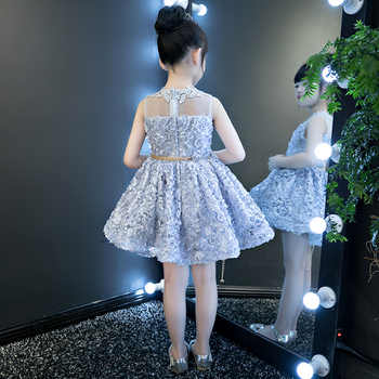 Floral Girl\'s Dress 2018 New Sleeveless Lovely Princess Girl Ball Gowns Embroidery Wedding Party Dresses With Sashes JF568
