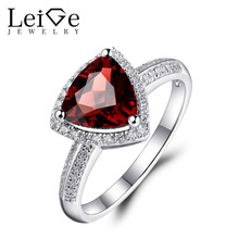 Leige Jewelry Natural Garnet Wedding Rings for Women January Birthstone 925 Sterling Silver Ring Triangle Cut 8X8mm Xmas Gift