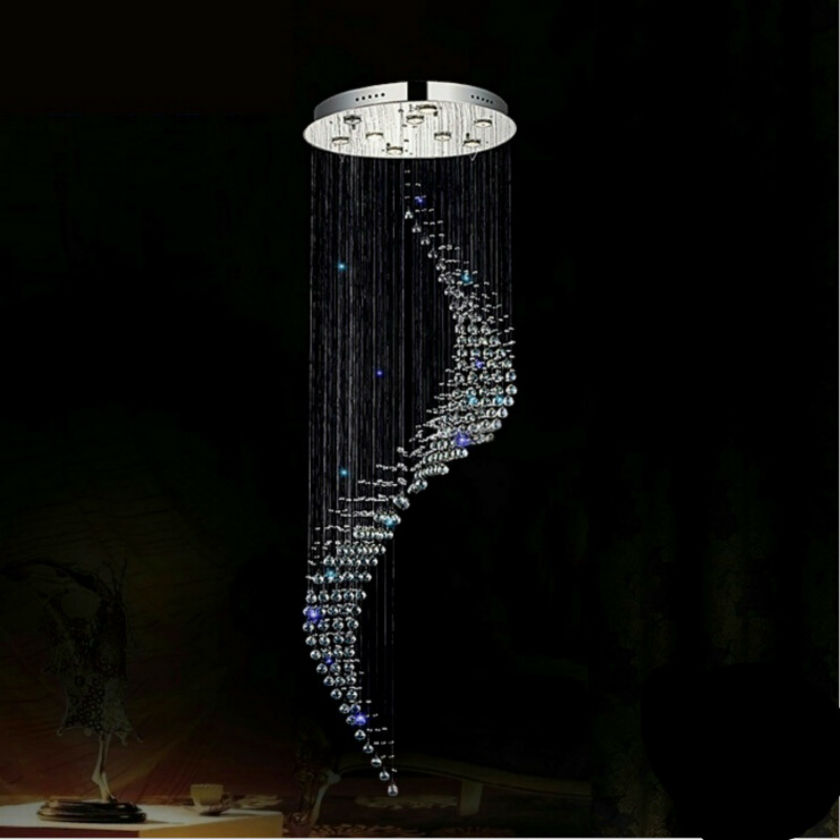Modern LED K9 Crystal Chandelier Stair Long Spiral Crystal Chandelier Lighting Fixture for Staircase Rain Drop high ceiling