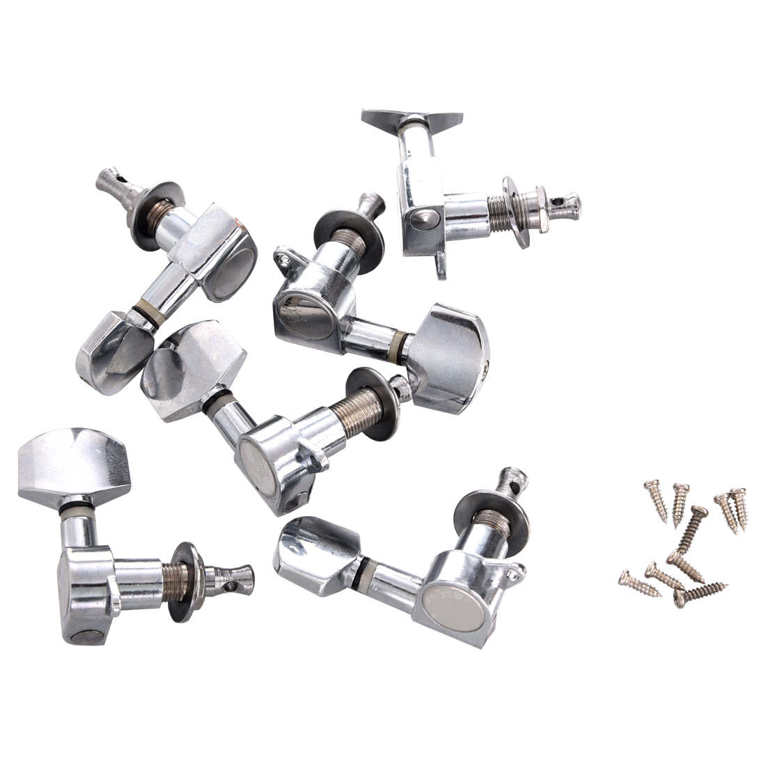 SALES 5xNew 6 pcs Chrome Guitar String Tuning Pegs Tuners Machine Heads a set chrome sealed gear tuning pegs machine heads tuners for guitar with black big square wood texture buttons
