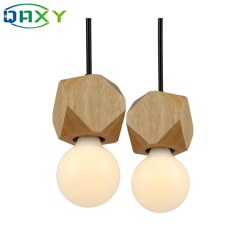 E27 Wooden Pendant Lamp Natural Color Modern Diamond-shaped Hanging Chandelier Light Living Room Bedroom Luminaire[DW2400]