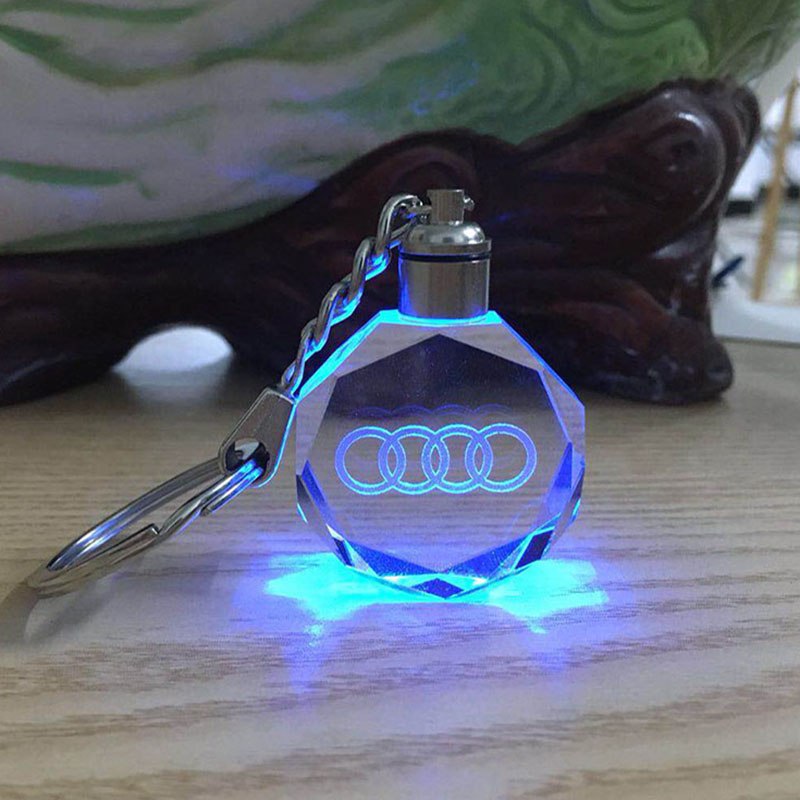 Car Logo Key Chain Laser Engraved Crystal