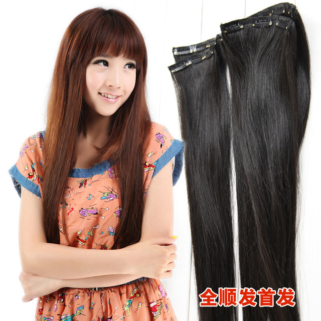 US $218 46 |Squid real hair piece thickening hair extension tablets really  hair piece straight hair kinkiness one piece elastin element on