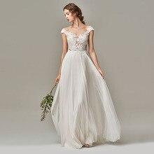 Eightree Appliques Lace Vintage Boho Wedding Dress Beach Gowns Chiffon Simple Free Shipping vestido novia Bridal