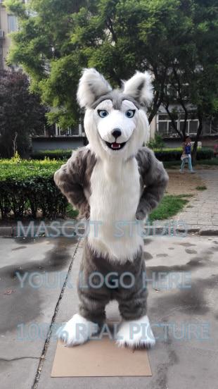Mascotte réaliste husky huskie mascotte costume chien fursuit personnalisé fantaisie costume anime cosplay kits mascotte fantaisie robe