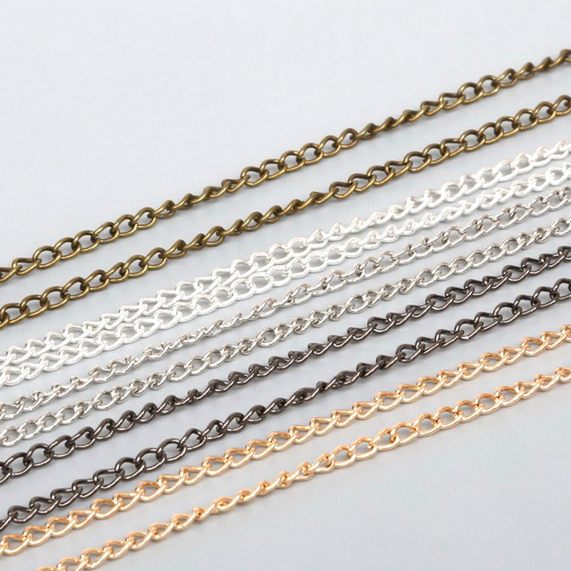 5meters/lot 3x2/4x3/6x4mm Metal Link Chains Bulk Gold Silver Color Necklace Bracelet Chains For DIY Jewelry Making Findings