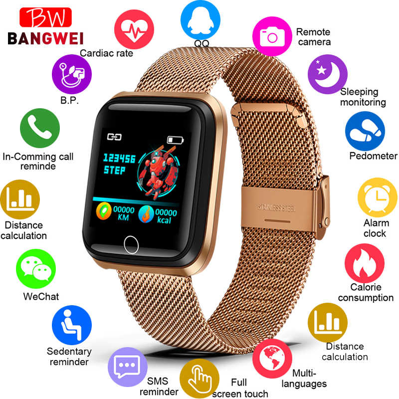 2019 New LIGE Smart Bracelet Men Women Heart Rate Monitor Blood Pressure Fitness Tracker Smart Wristband Sport Waterproof Watch
