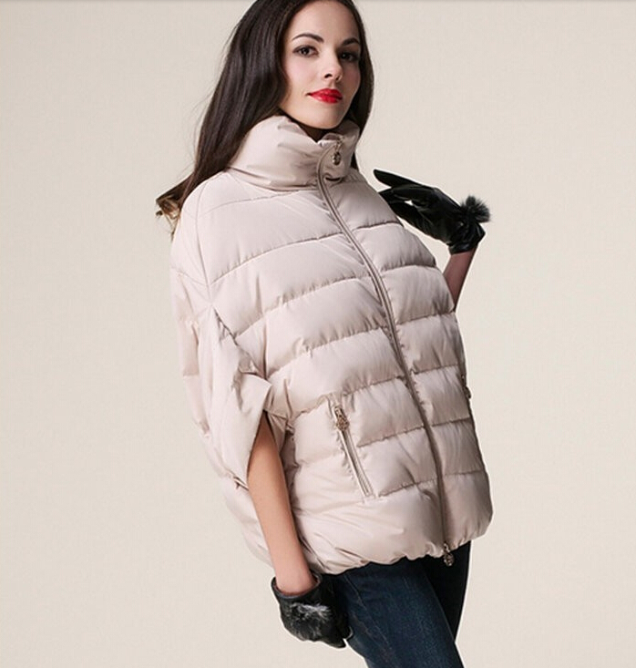 Winter Jacket Women Down Cotton Jacket   Parkas   ladies Bat Sleeve Cloak Coat Woman Manteau Female   Parka   Winter Coat 2017