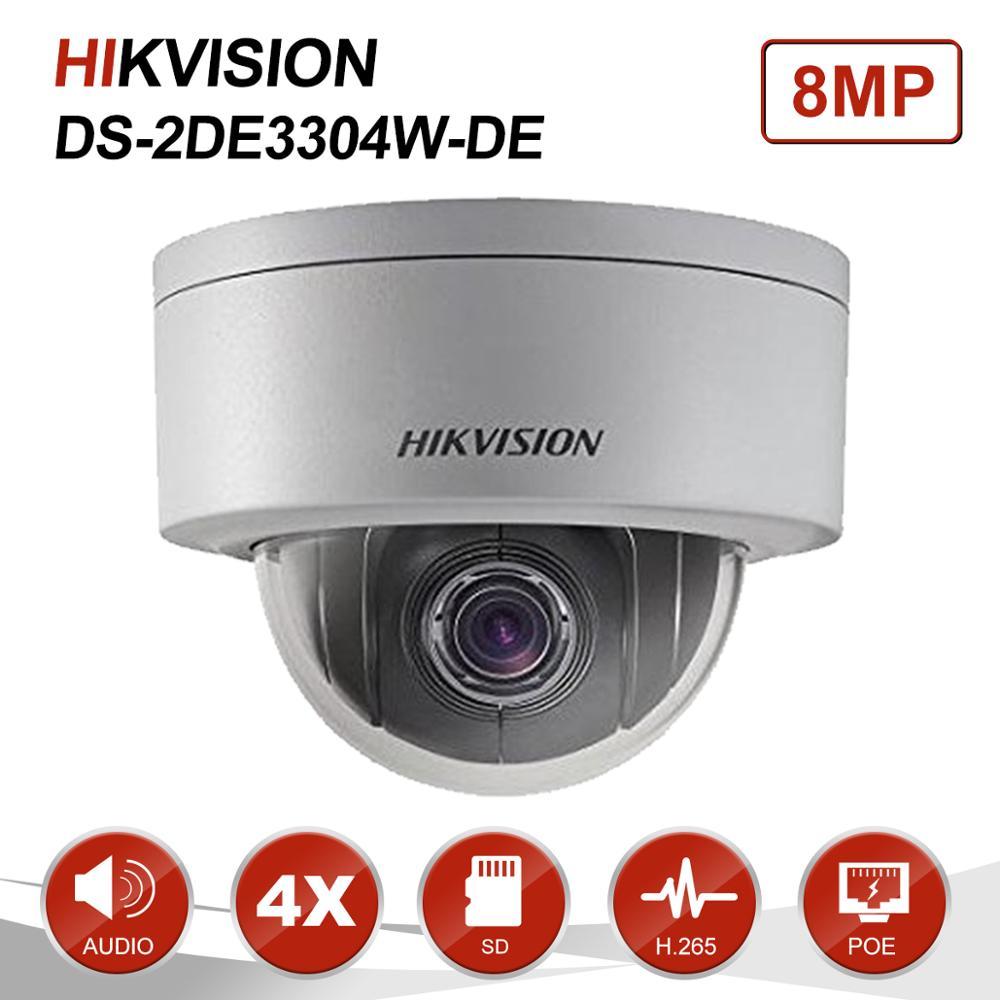 Hikvision 3MP Mini dôme PTZ caméra IP 4X Zoom 2.8-12mm Audio SD carte Slot PoE Onvif extérieur CCTV Surveillance DS-2DE3304W-DE