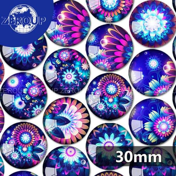 1 x 30 x 40 mm Fleur bleu dos plat verre cabochons