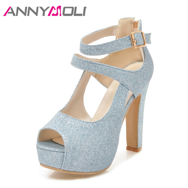 8323c9d9dc ANNYMOLI da Plataforma Dos Saltos Altos Das Sandálias Das Mulheres Sapatos  de Glitter Prata Peep Toe
