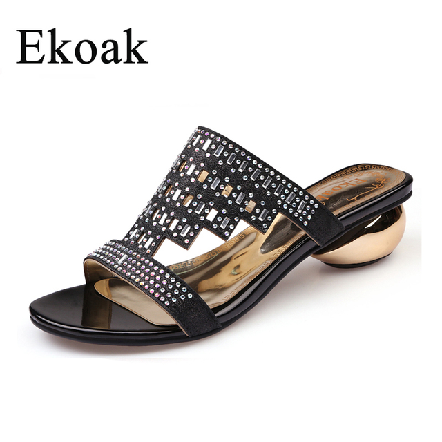 f64b6adc15bd4 Ekoak New Fashion Women Sandals Summer Party Shoes Ladies Sexy Crystal Med  High Heels Shoes Woman Casual Girls Slides