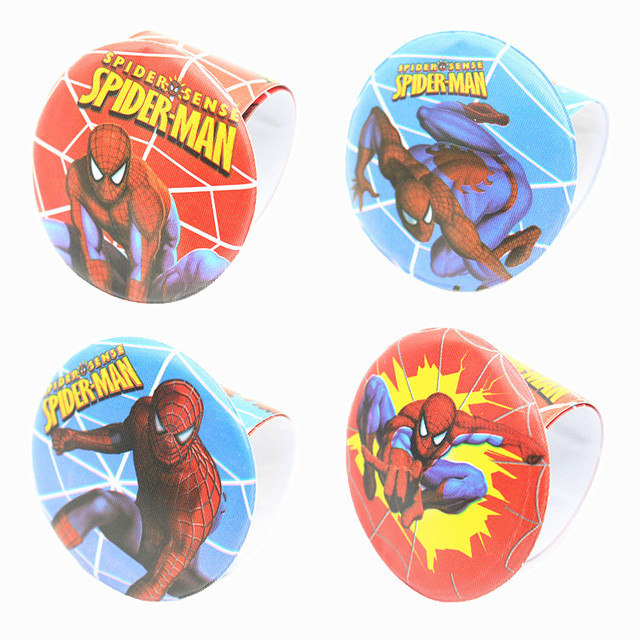 12PCS Hero Spider man Slap Bracelets Kids birthday party supply gift for boy baby shower favors souvenirs