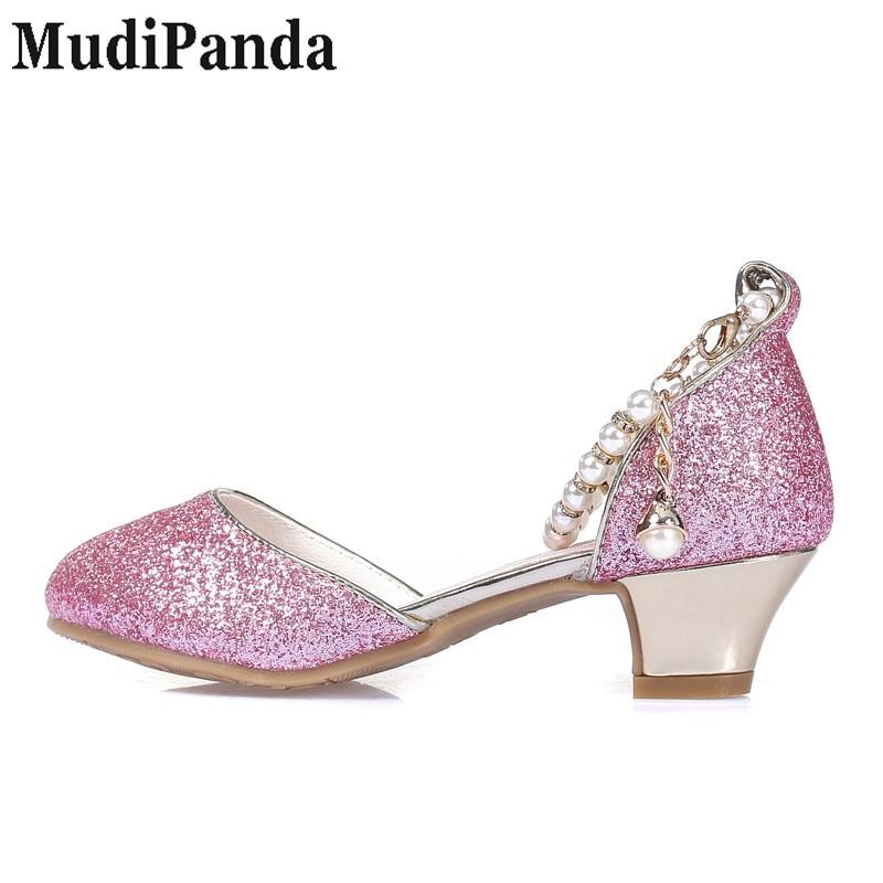 MudiPanda Girls Sandały 2018 nowe perłowe buty dziecięce wysokie - Obuwie dziecięce - Zdjęcie 5