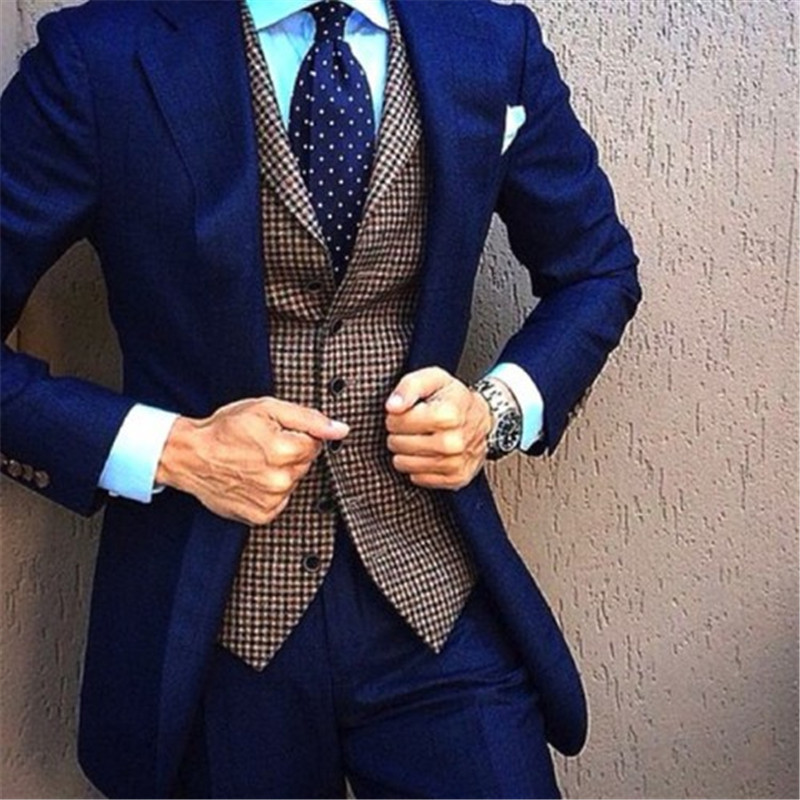 Top Selling Blue Men Suits With Plaid Vest 3Pieces(Jacket+Pant+Vest+Tie) Terno Masculino Groom Custom Made Fashion Blazer(China)