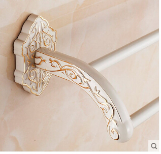 High Quality New wall mounted 24 inch White Double Towel Bar Brass Towel Holder Bathroom Towel Shelf,Bathroom accessories the ivory white european super suction wall mounted gate unique smoke door