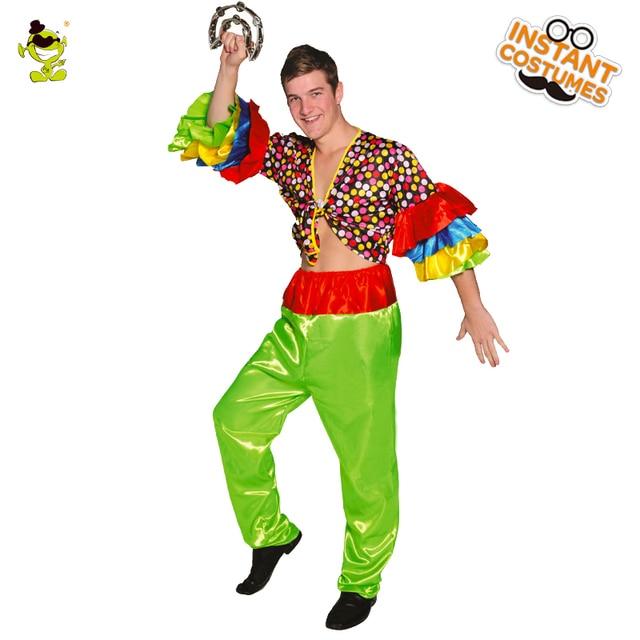 e62055697da1 Uomini Rumba Costume di Ballo Camicia Colorata Con Manicotto Del Chiarore  Divertente Adulto Carnevale Hippie Costumi