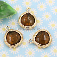 10pcs/lot Copper Pendants with Zircon Stone Crystal Charm for DIY Jewelry Making Bracelet Earring Finding 16x20mm K03020