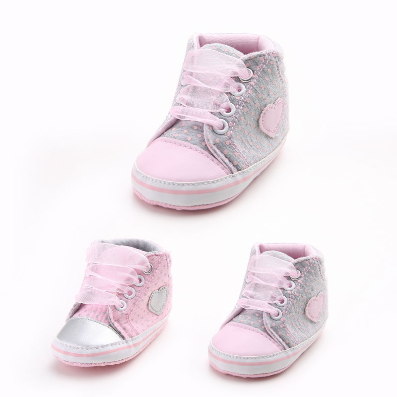 Infant Baby Boy Girl Toddler Kids Crib Shoes Polka Dot Anti-slip Soft Sole Lace Up Shoe Crib Shoes