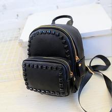 Girl's Rivet Leather Backpack Joker Fashion Female Two Pocket Bag Korean Simple School Backpack