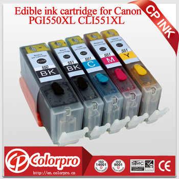 5PK (BK/PBK/C/M/Y) PGI550 CLI551 Commestibile Cartuccia di Inchiostro per Stampante Canon PIXMA MG5450/MG6350/IP7250/MX925 per Canon PGI 550XL