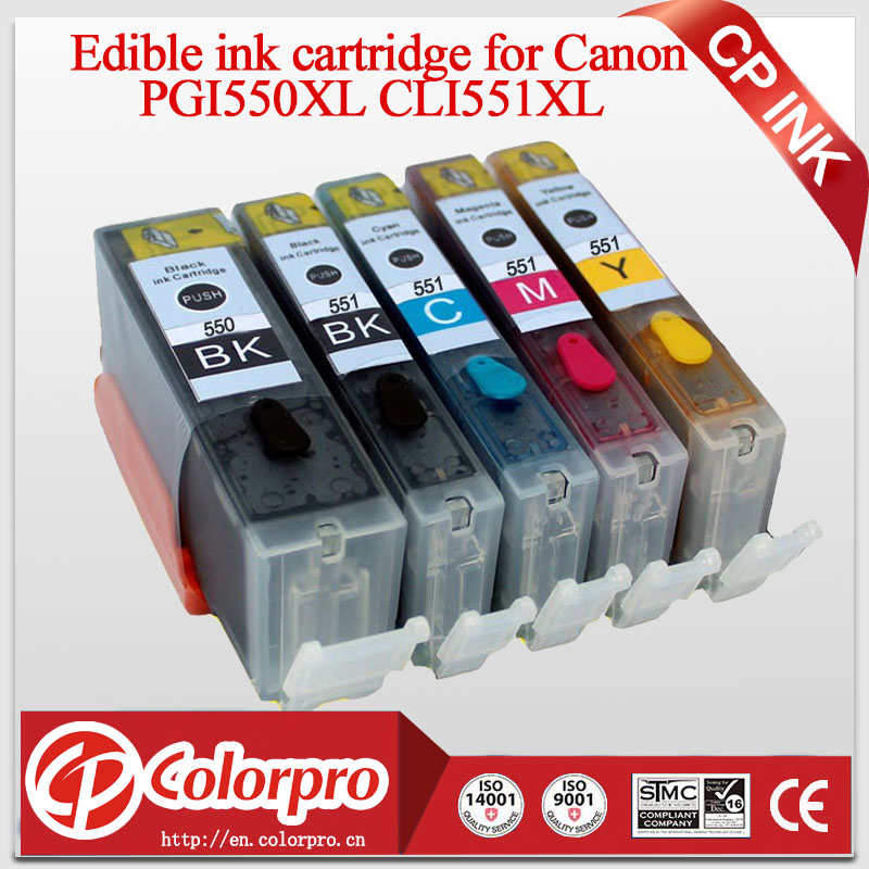 5PK (BK / PBK / C / M / Y) PGI550 CLI551 Ink Cartridge Edible untuk Canon Printer PIXMA MG5450 / MG6350 / IP7250 / MX925 untuk Canon PGI 550XL