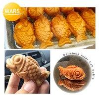 MARS Small Taiyaki Maker Mini Fish Waffles Machine Baker Iron Japanese Fish Shaped Cake Mold Making Pan Equipment Waffle Makers     -