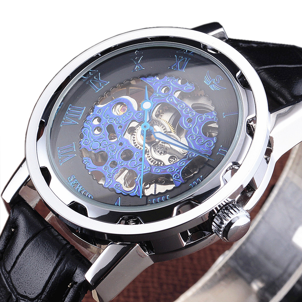 fc1844d6da8 Fashion SEWOR Gear terasest ümbris Fine Carving sinine skelett kellad mehed  Dial nahast rihma luksus sõjali.