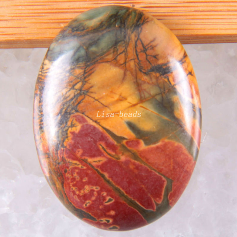 Free Shipping Fashion Jewelry Oval 30x40MM Natural Multi-color Picasso Jaspe CAB Cabochon 1Pcs K1687
