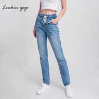 Luckinyoyo Джинсы женские мама джинсы брюки бойфренд джинсы для женщин с высокой талией пуш-ап Большие размеры женские джинсы деним 5xl 2019