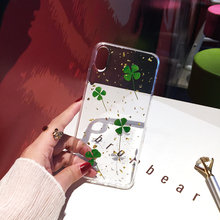 Qianliyao Green Lucky Clover Plant Real Dried Leaf Phone Case For iphone XR XS Max 6 6S 7 8 plus 11 Pro Soft TPU Back Cover