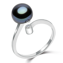 FEIGE Trendy Style 8-9mm Black Freshwater Pearl Ring 100% 925 Sterling Silver Rings for Women's Fine Jewelry bijoux
