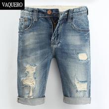 Mens Denim Shorts 2016 New Summer Regular Casual Knee Length Short Bermuda Masculina Hole Jeans Shorts For Men