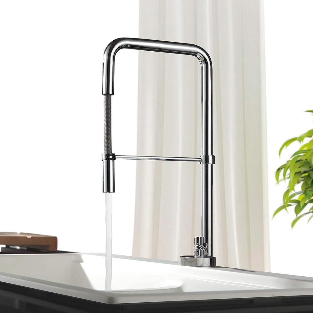 Chrome Pull Out Kitchen Faucet 360 Swivel Kitchen Tap Single Handle Sink Mixer Tap Hot and