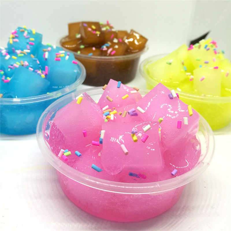 Crystal Slime Ice Cream Coconut Fruit Mud Candy Putty Anti Stress DIY Draw Transparent Clear Hand Gum Toys for Kids Gifts