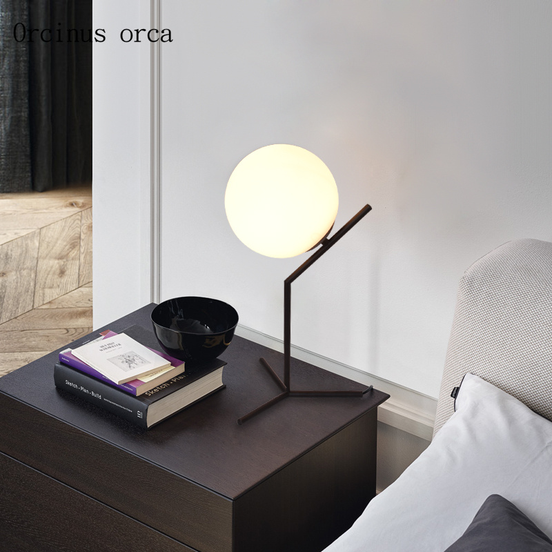 Nordic modern glass ball table lamp bedroom bedside lamp creative iron hemp ball LED desk lamp free shippingNordic modern glass ball table lamp bedroom bedside lamp creative iron hemp ball LED desk lamp free shipping