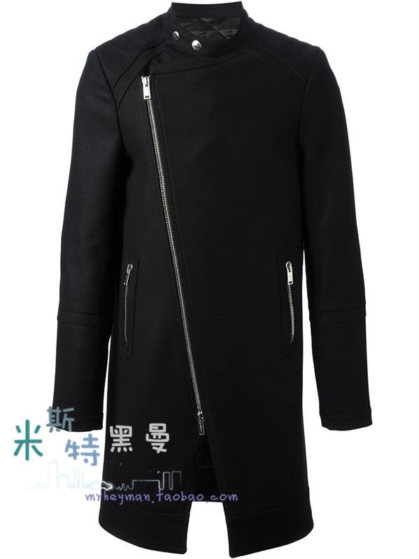ea9265972005 S-5XL!! mode für männer stehkragen wollmantel wolle reißverschluss um  patchwork woolen oberbekleidung