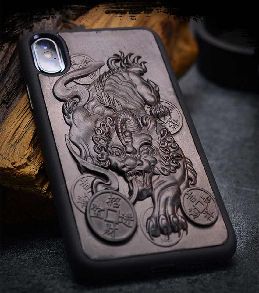 Case For iPhone XR X XS Max ebony Black wood 3D Stereo Emboss Carved Wooden TPU Back Cover Case For iPhone 6 6s 7 8 plus (5)