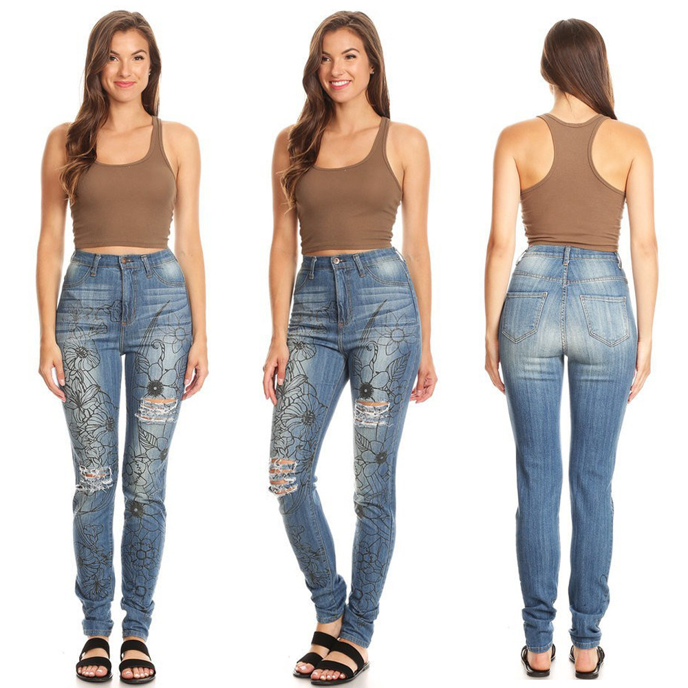 Female Jeans Trousers Pencil-Pants Printing Fashion-Pattern Summer Women's New Casual