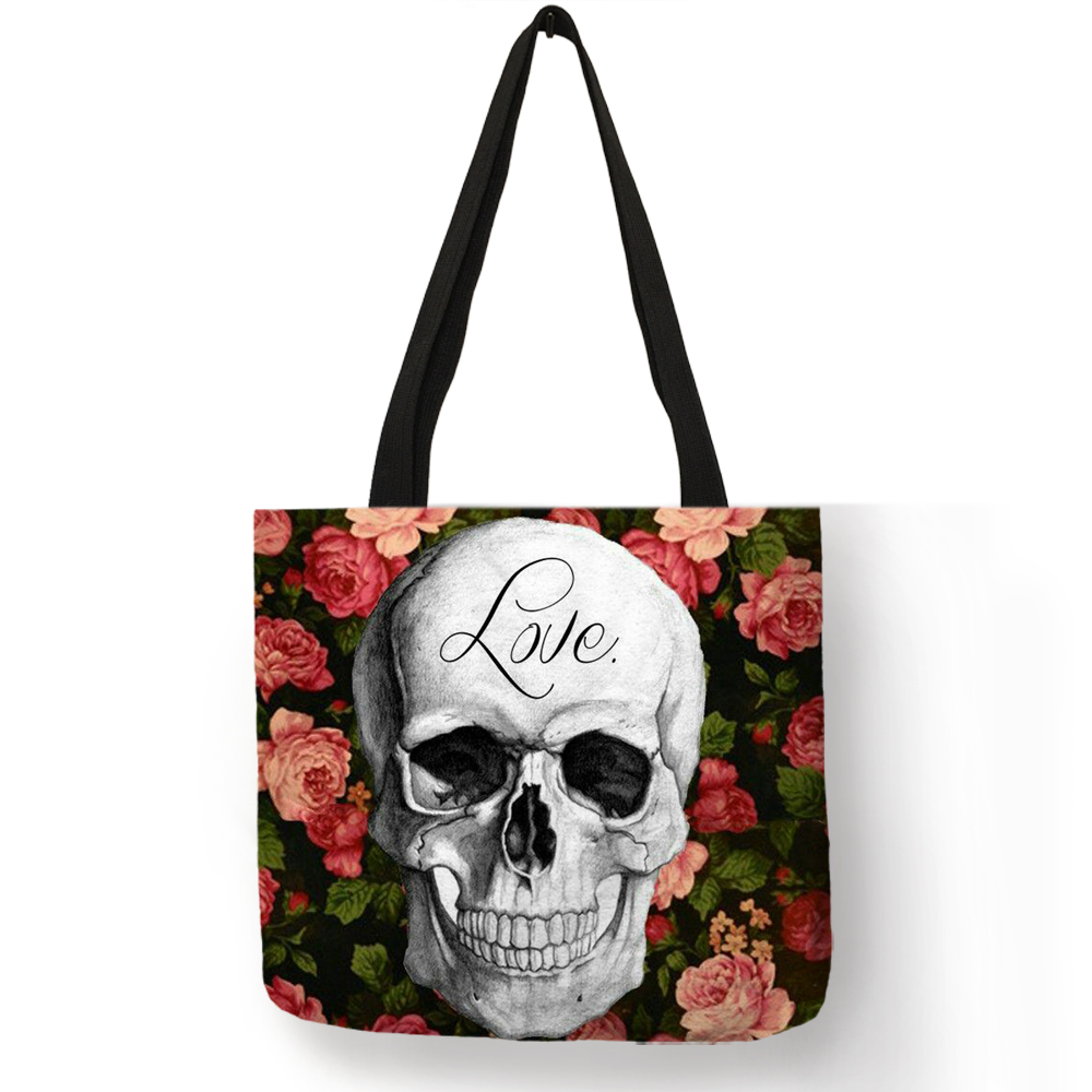 Floral Skull Customized Tote Bag  Linen Handbags for Women Lady Eco Reusable Shopping Bags TravelingFloral Skull Customized Tote Bag  Linen Handbags for Women Lady Eco Reusable Shopping Bags Traveling