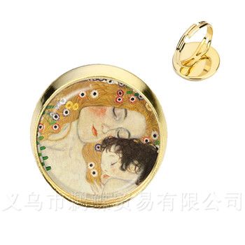 Mothers Day Rings Gustav Klimt The Kiss Art Jewelry Silver/Golder Plated 2 Color Adjustable Ring Gift For Friends image