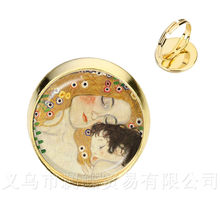 Mothers Day Rings Gustav Klimt The Kiss Art Jewelry Silver/Golder Plated 2 Color Adjustable Ring Gift For Friends(China)