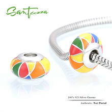 Silver Enamel Charm Colorful Beads Charm Fit For Bracelet Bangle DIY Making 100% Authentic 925 Sterling Silver Women Jewelry(China)