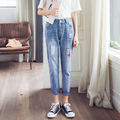 Fashion Casual Jeans Women embroidery mid Waist regular Denim Harem pants Female Sexy Trousers Girls hole Pencil pants LX6109