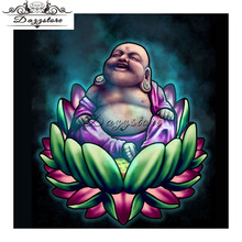 hot deal buy 5d diy diamond painting cross stitch smiling buddha needlework diamond embroidery 5d diamond mosaic paintings rhinestones